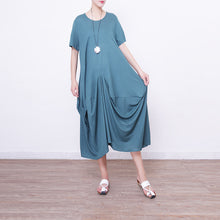 Load image into Gallery viewer, boutique green linen caftans plus size clothing o neck linen maxi dress 2018 asymmetric hem linen caftans