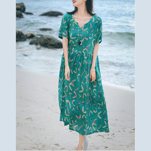 boutique green print long linen dresses Loose fitting v neck baggy dresses women short sleeve maxi dresses