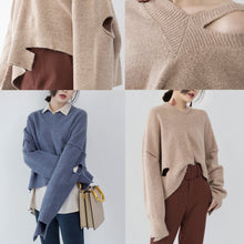 Load image into Gallery viewer, boutique khaki cozy sweater plus size V neck knitted tops top quality asymmetrical design top