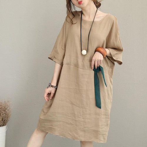 337c25a1b96 boutique khaki pure linen dress Loose fitting linen clothing dresses  Elegant waist drawstring bracelet sleeved midi
