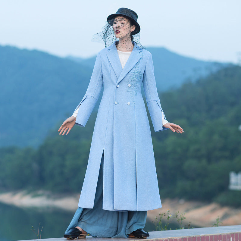 boutique light blue Woolen Coat Women Loose fitting long coat open long sleeve embroidery coats