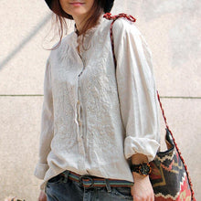 Load image into Gallery viewer, boutique linen blouses plus size clothing Linen Embroidered Shirt