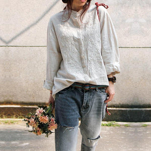boutique linen blouses plus size clothing Linen Embroidered Shirt