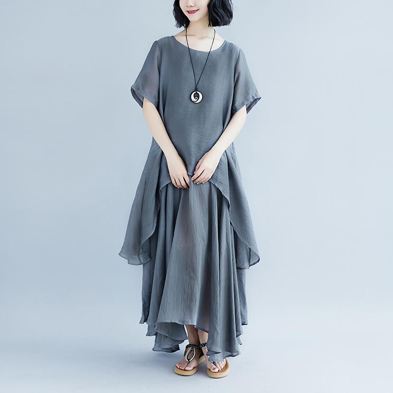 boutique linen dresses oversize Casual Short Sleeve Gray Pockets Fake Two-piece Dress