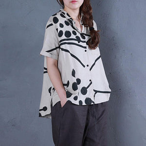 boutique linen summer top casual Stand Collar Printed Single Breasted Beige Blouse