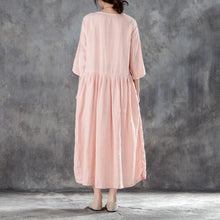 Load image into Gallery viewer, boutique linen sundress oversized Linen Round Neck Three Quarter Sleeve Pink Pleated Dress
