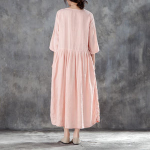 boutique linen sundress oversized Linen Round Neck Three Quarter Sleeve Pink Pleated Dress