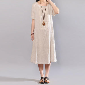 boutique long linen dress stylish Round Neck Short Sleeve Pure Color Flax Dress
