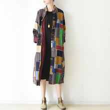Afbeelding in Gallery-weergave laden, boutique multi color patchwork coat plus size o neck cardigans boutique batwing sleeve long jackets