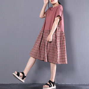 boutique natural cotton dress plus size clothing Short Sleeve Plaid Summer Round Neck Dress