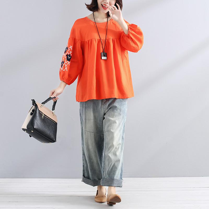 boutique natural linen t shirt Loose fitting Embroidered Women Loose Linen Casual Lacing Folded Orange Shirt