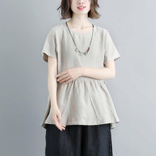 Load image into Gallery viewer, boutique natural linen t shirt casual Pleated Summer Short Sleeve Round Neck Casual Tops