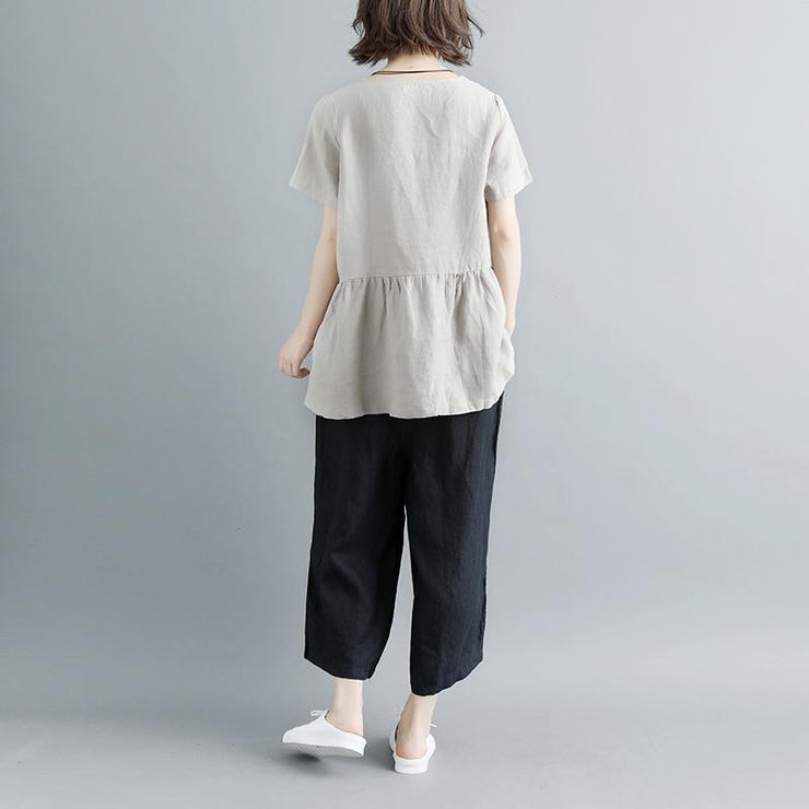 boutique natural linen t shirt casual Pleated Summer Short Sleeve Round Neck Casual Tops