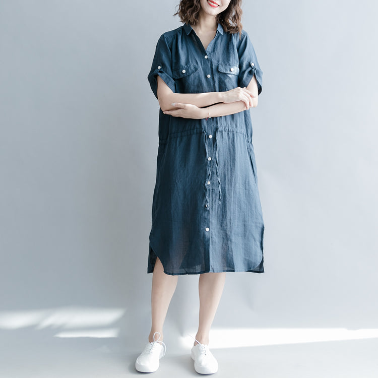 boutique navy linen dresses oversize linen clothing dresses 2018 short sleeve pockets Turn-down Collar midi dress
