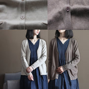boutique nude cozy sweater Loose fitting knitted blouses New v neck fall blouse cardigan
