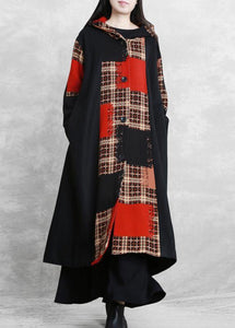 boutique oversized long jackets coat black plaid hooded patchwork woolen overcoat