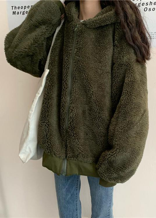 boutique oversized medium length coat winter outwear green hooded Wool jackets