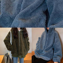 Load image into Gallery viewer, boutique oversized medium length coat winter outwear green hooded Wool jackets