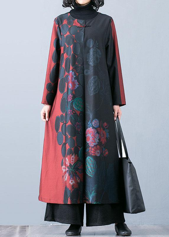 boutique oversized red maxi coat fall trench coats prints o neck Chinese Button outwear