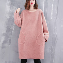 Load image into Gallery viewer, boutique pink blouse trendy plus size O neck traveling clothing top quality pockets clothing tops
