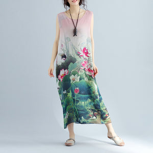 boutique pink floral cotton dresses casual sleeveless cotton maxi dress vintage side open cotton clothing
