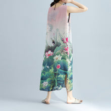 Load image into Gallery viewer, boutique pink floral cotton dresses casual sleeveless cotton maxi dress vintage side open cotton clothing