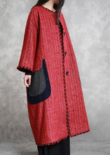 Load image into Gallery viewer, boutique plus size Jackets & Coats outwear red striped o neck pockets woolen outwear