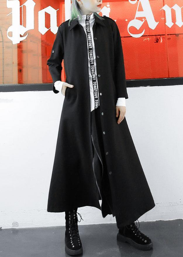 boutique plus size long jackets fall women coats black lapel collar slim coat
