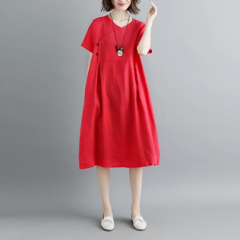 boutique pure linen dresses plus size Retro Summer Short Sleeve Red Pockets Pleated Dress