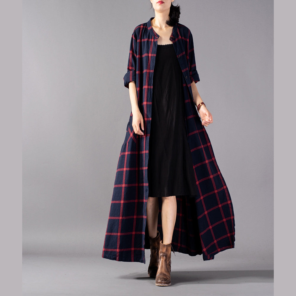 boutique red Plaid coat plus size clothing stand collar Coats boutique pockets Coats