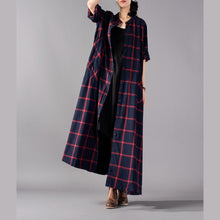 Load image into Gallery viewer, boutique red Plaid coat plus size clothing stand collar Coats boutique pockets Coats