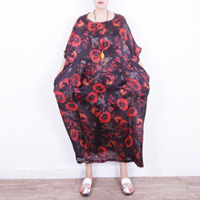 Load image into Gallery viewer, boutique red floral silk dress oversize patchwork traveling clothing New o neck chiffon gown