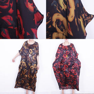 boutique red floral silk dress oversize patchwork traveling clothing New o neck chiffon gown