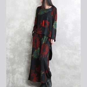 boutique red green print Midi-length cotton blended two pieces oversize clothing tops women long sleeve baggy o neck asymmetric tops and vintage baggy pants
