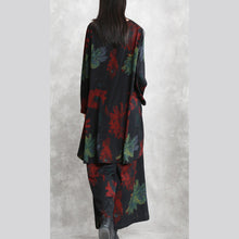 Load image into Gallery viewer, boutique red green print Midi-length cotton blended two pieces oversize clothing tops women long sleeve baggy o neck asymmetric tops and vintage baggy pants