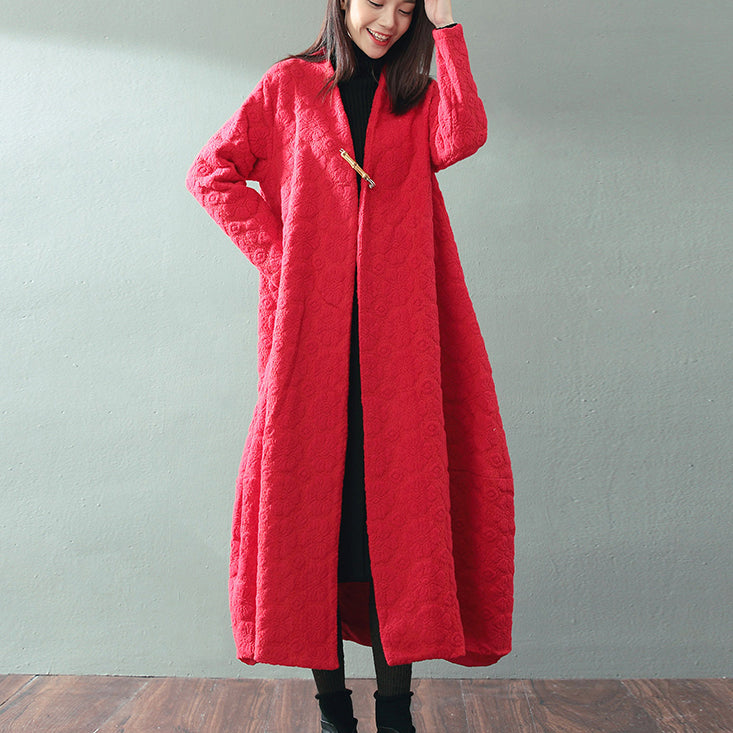 boutique red maxi coat trendy plus size V neck baggy Coats top quality Jacquard wool coat