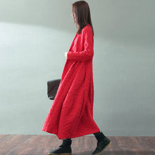 Load image into Gallery viewer, boutique red maxi coat trendy plus size V neck baggy Coats top quality Jacquard wool coat