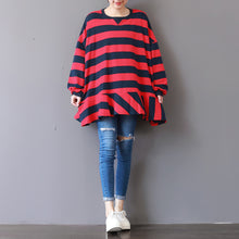 Load image into Gallery viewer, boutique red striped natural cotton t shirt plus size cotton clothing blouses top quality patchwork o neck cotton t shirt
