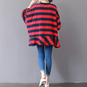 boutique red striped natural cotton t shirt plus size cotton clothing blouses top quality patchwork o neck cotton t shirt