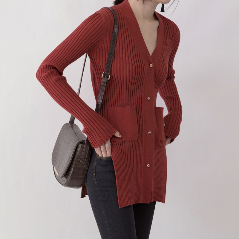 boutique red sweaters oversize V neck pockets sweaters top quality side open winter sweaters