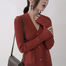 Load image into Gallery viewer, boutique red sweaters oversize V neck pockets sweaters top quality side open winter sweaters