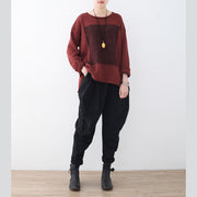 boutique red winter sweater oversize patchwork knitted blouses vintage o neck top
