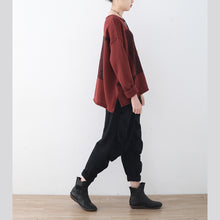 Load image into Gallery viewer, boutique red winter sweater oversize patchwork knitted blouses vintage o neck top