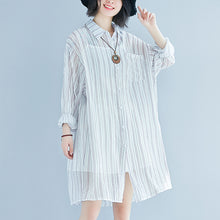 Load image into Gallery viewer, boutique striped cotton dress oversized vintage long sleeve Turn-down Collar cotton dress