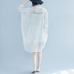 boutique striped cotton dress oversized vintage long sleeve Turn-down Collar cotton dress