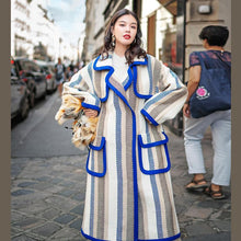 Load image into Gallery viewer, boutique striped long coat trendy plus size Notched trench coat Fine pockets Winter coat
