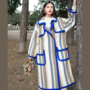 boutique striped long coat trendy plus size Notched trench coat Fine pockets Winter coat