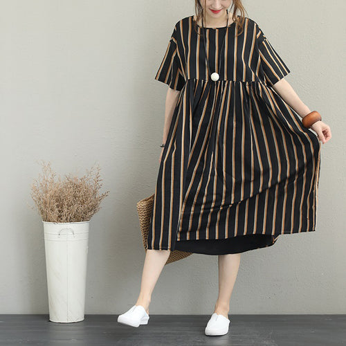 9b0551872c9 boutique striped silk linen dress plus size linen cotton dress vintage o  neck short sleeve clothing