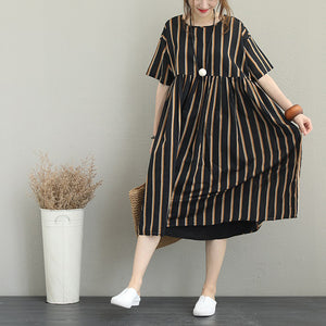 boutique striped silk linen dress plus size linen cotton dress vintage o neck short sleeve clothing