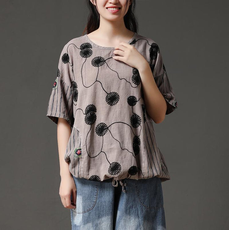 boutique summer cotton tops plus size Cotton Embroidery Flower Beige Casual Women Shirt